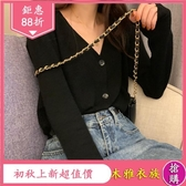 慵懶風V領短款 長袖針織上衣服 秋裝女新款寬鬆休閒開衫外套 降價兩天
