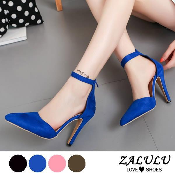 ZALULU愛鞋館 7IE093 現貨 瑪莉珍繫踝高跟素面多彩跟鞋-黑/粉/軍綠/寶藍-35-42