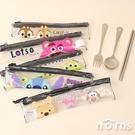 迪士尼不鏽鋼餐具組 附透明收納包- Norns 環保餐具 小熊維尼 史迪奇 奇奇蒂蒂 正版筷子湯匙叉子