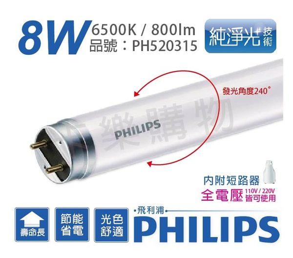PHILIPS飛利浦 易省 LED T8 8W 6500K 白光 全電壓 單邊入電 玻璃管  PH520315