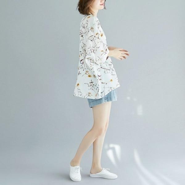 漂亮小媽咪 碎花上衣 【C2061】雪紡襯衫 文藝 寬鬆 雪紡衫