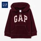 Gap女嬰兒logo拉鍊連帽休閒上衣511477-酒紅色