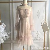 新款初秋韓版寬鬆木耳領口透視露肩雙層網紗長袖洋裝仙女裙 糖糖日系森女屋