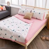 單人 / 水洗舒柔棉 床包涼被三件組【小樹林】活性印染 四季被 冷氣被 防涼被 空調被 - 沐眠家居