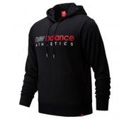 New Balance 男裝 長袖 連帽 休閒 撞色 刷毛 袋鼠口袋 黑 紅【運動世界】AMT01524BK
