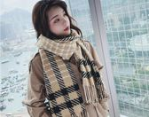 圍脖女 韓版女針織加厚學生披肩百搭格子男圍脖兩用保暖圍巾   瑪麗蘇