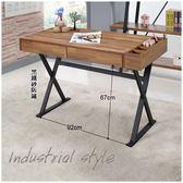 【水晶晶家具/傢俱首選】JF8359-3巴哈4尺柚木集層黑鐵砂二抽書桌