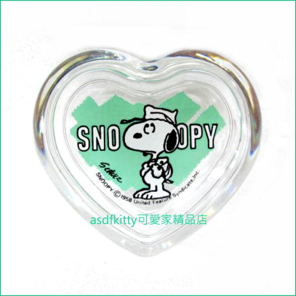 asdfkitty可愛家☆史努比綠色愛心玻璃置物盒/禮物盒-佐佐木哨子-有原廠外盒-日本製