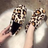 單鞋 新圓頭棉單鞋豹紋波點平底兔毛毛鞋舒適豆豆鞋女柔軟【全館上新】