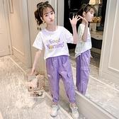 女童運動套裝 女童運動套裝2021新款夏季洋氣中大童休閑工裝兒童夏裝兩件套 快速出貨