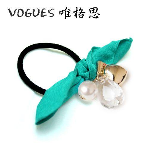 韓款絨布中墜珍珠水鑽髮束(4色)G004【Vogues唯格思】