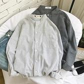 帥氣條紋長袖襯衫男士韓版潮寬鬆白襯衣夏季防曬衣服港風日系外套【快速出貨】