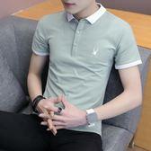 2018夏季新款韓版半截袖潮流修身男士T恤翻領POLO衫男襯衫領衣服