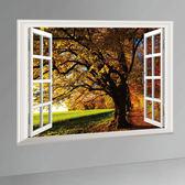 DIY  壁貼透明可移除PVC 牆貼客廳臥室假窗壁貼森林窗景壁貼大樹【發現 】