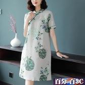 媽媽洋裝 洋裝中年女媽媽微胖小個子中長款裙子四五十歲洋氣夏裝改良旗袍 百分百