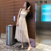 仙仙女修身顯瘦溫柔蕾絲網紗吊帶裙夏