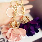 精美韓國水鑽皇冠汽車鑰匙扣 女款鑲鑽可愛花球包包掛飾小掛件 晴天时尚馆