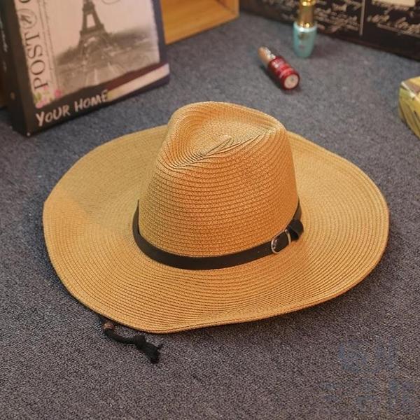 防曬男士草帽可折疊牛仔帽戶外遮陽禮帽沙灘帽大檐出游【極簡生活】