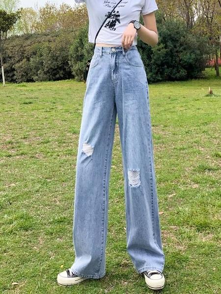 寬管褲 破洞鬆緊高腰牛仔褲女夏薄款直筒寬鬆2021新款顯瘦垂感闊腿拖地褲 夢藝
