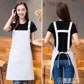 白色圍裙廚房工作服韓版時尚定制印LOGO做飯廚房純棉廚師圍腰   電購3C