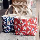 原創日系可愛萌柴犬防水飯盒袋便當包加厚抽繩學生女手提拎 一米陽光