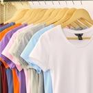 短袖T恤女 純色短袖T恤女 圓領半袖T恤 上衣 打底衫純白色T恤 M-XXL【五色可選】 店慶降價