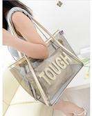 果凍包 2021夏季新款潮女大容量時尚糖果側背包女包沙灘透明包果凍包 晶彩 99免運