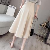 半身裙女夏季新款適合胯大腿粗的中長裙高腰顯瘦a字蓬蓬百褶裙
