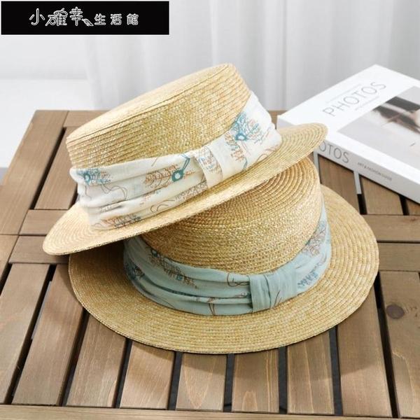 沙灘帽 英倫細麥稈平頂禮帽女海邊百搭防曬遮陽沙灘帽子度假時尚綢帶草帽 快速出貨