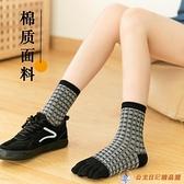 五指襪女高腰純棉分腳趾頭襪子素色中筒堆堆松口孕婦襪【公主日記】