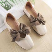 單鞋女平底新款韓版蝴蝶結復古方頭豆豆軟底仙女