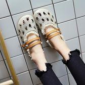 娃娃鞋 復古森系大頭鏤空透氣平底羅馬鞋