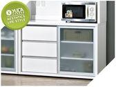 【YUDA】羽田 木心板 4尺 純白色 波麗漆 強化玻璃 餐櫃/收納櫃/置物櫃 J9S 499-3