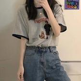 灰色短袖美式復古短袖T恤女夏季2021新款設計感小眾半袖上衣ins潮 【快速出貨】YYP