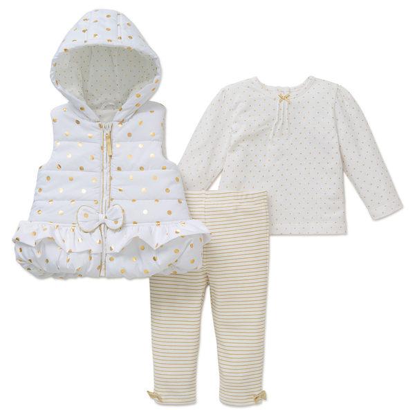 套裝 Little Me 白色金點點背心+上衣褲子3件組 LPG04885I