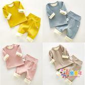 嬰兒寶寶刷毛加厚保暖內衣棉質高腰嬰幼兒秋冬保暖衣衛生衣衛生褲套裝