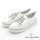 【CUMAR】簡約線條鑽飾休閒鞋(白色)