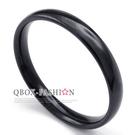 《 QBOX 》FASHION 飾品【R10022925】精緻個性細版素面黑色鈦鋼戒指/戒環(0.3cm)