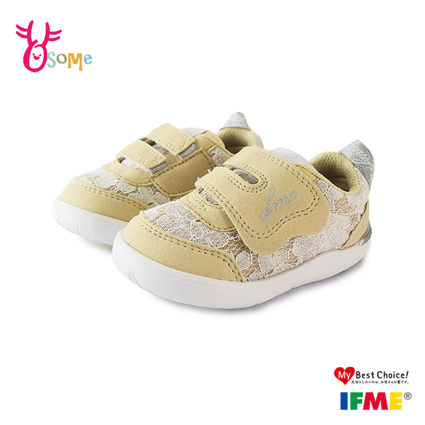 IFME童鞋 寶寶鞋 女童運動鞋 CALIN 蕾絲 足弓鞋墊 日本機能鞋 運動機能鞋 R7692#卡其◆OSOME奧森鞋業