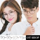 OT SHOP眼鏡框‧中性圓框文青平光眼鏡金屬歐美圓形鼻墊加高‧黑色/金色/槍灰/古銅‧現貨‧H15
