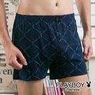 PLAYBOY內褲 兔頭LOGO  男內褲  平口褲 針織四角褲-單件-SW9043-630A青藍字兔