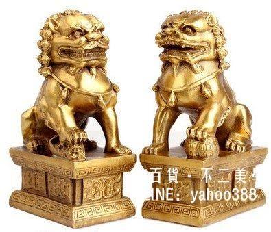 開光風水純銅獅子擺件一對北京獅宮門獅鎮宅辟邪化煞工藝品 一對價 獅模型