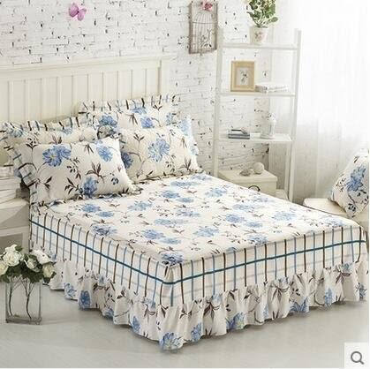藝皇全棉床蓋床罩床罩單件純棉簡約床裙床笠1.8米2.0m1.5床保護套(m沁園居)