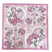 小禮堂 美樂蒂 日製 純棉紗布便當包巾 餐巾 手帕 桌巾 桌墊 43x43cm (粉 蕾絲) 4548266-43101
