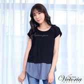 Victoria  真二件式異材質寬鬆短袖T-女-黑色