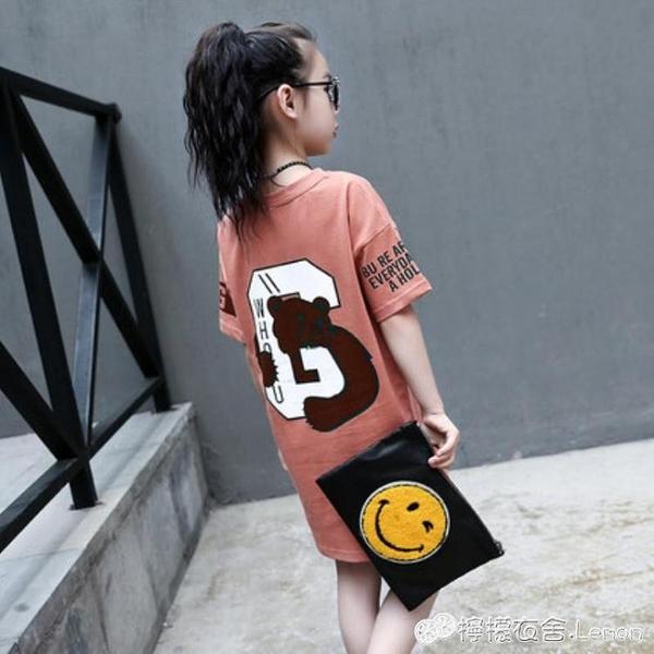 女童T恤 童裝女童新款夏裝短袖T恤兒童中長款上衣中大童韓版體恤衫潮