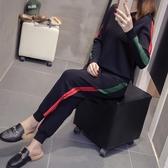 2019年秋冬新款韓版針織運動服套裝女洋氣連帽毛衣哈倫褲兩件套潮