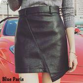 藍色巴黎~ 高腰不規則裙襬皮裙A 字裙短裙~23362 ~~M L ~