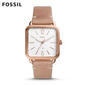 FOSSIL Micah  經典玫瑰金方形皮革手錶 女