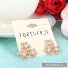Forever21璀璨珍珠花卉耳環(金色)321207